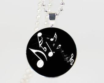 Music partiture Print Necklace Pendant  glass