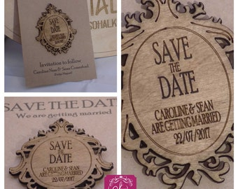 Personalised wooden save the date fridge magnet
