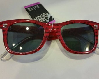 Vintage Sunglasses - Red Wayfarers text design Foster Grant