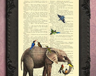 Elephant with birds home decor, elephant art print, housewares, elephant print dictionary art, antique book page, print on dictionary paper