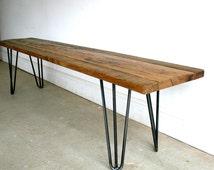Hand crafted Oak and hairpin leg bench built to size using reclaimed wood