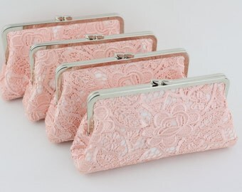 Pink Peony Bridesmaid Clutches / Elegant Bridal Clutches / Luxury Wedding Clutches - Set of 4