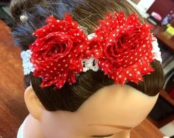 Polka-Dot Double Rose Headband