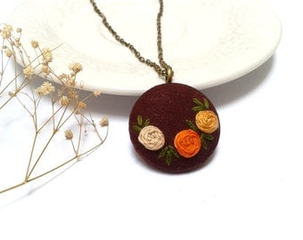 Autumn roses hand embroidered jewelry necklace in brown and orange