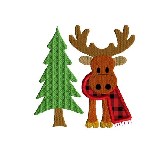 Moose Applique Embroidery Design