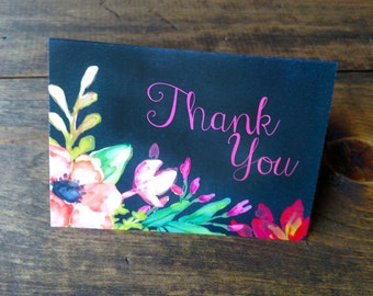 Vintage Floral Chalkboard Thank You Cards