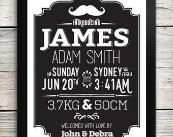 Chalkboard Moustache Birth Details Print / Birth Announcement Print