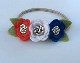 Small Red White Ivory and Blue Felt Flower Headband // Nylon Headband // Fourth of July // One Size Fits All