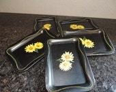 Small Black Flower Trays Mini Trys Daisy Trays Mini Serving Trays Set Of Trays Vintage Trays Metal Tray Set Black Trays Yellow Trays