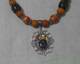 Black Jack-o-Lantern Bead Necklace