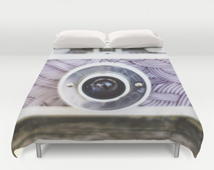 Camera Duvet Cover -  Bed Spread - Duvet Cover Only - Camera Themed Bedding - Purple Camera Bed Cover - Made to Order