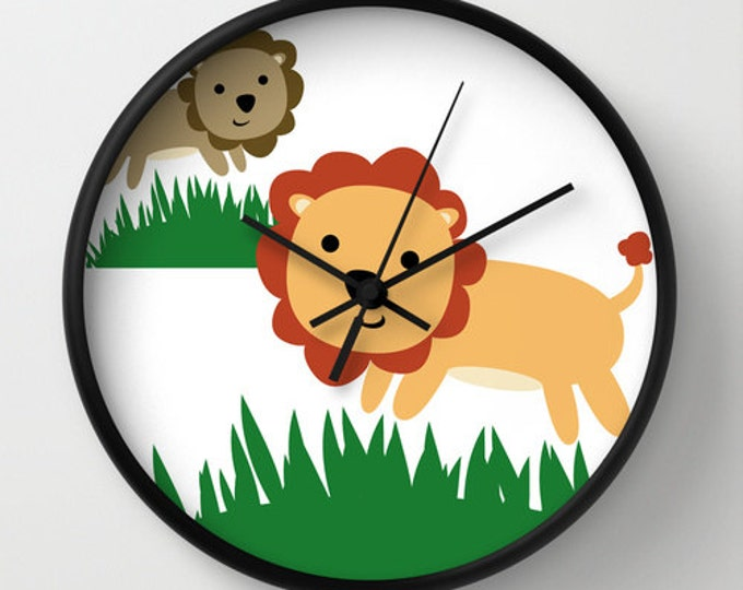 Lion Nursery Clock - Wall Clock - Lion Nursery Art Clock - Childs Wall Clock - Bedroom Decor - Made to Order