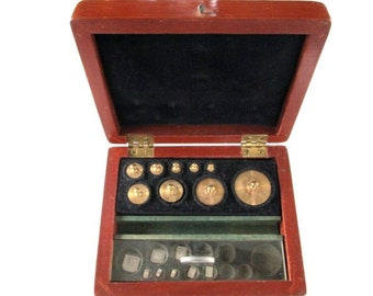 Big Sale Vintage Scale Weights in Wood Box