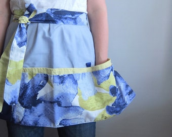 Cafe Apron, Hip Apron, Half Apron with pockets - Watercolor floral indigo and mustard yellow