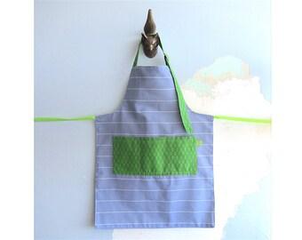 Children Apron with pockets - blue-mauve stripes & green squares