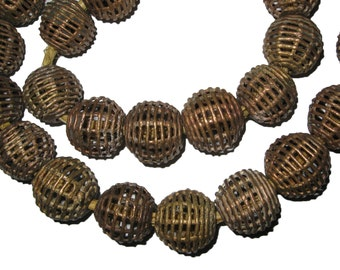 Strand of Baule Brass Beads from Ivory Coast : African Trade Bead