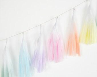 Dip Dye Tassel Garland - Unicorn Rainbow