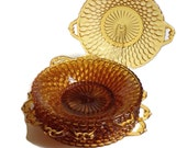 Vintage Indiana Glass Amber Relish Dishes-Handled-Honeycomb Pattern-Set of 8-Home Decor-Glass Plates-Candy Dishes-Wedding-Thanksgiving