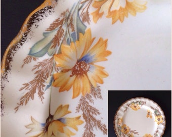 Vintage 1940's Limoges China Dessert or Salad Plates Yellow Daisy 22K Gold Trim Set of 12 Beautiful Condition