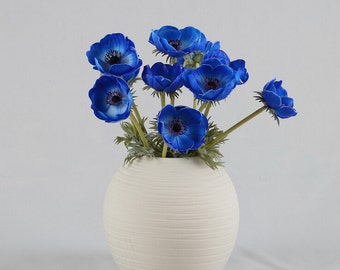 10 Single Flower Realistic Anemone Royal Blue Wedding Floral Decor For Table Centerpieces Natural PU Latex Anemone Flowers