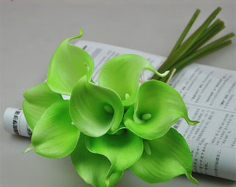 Lime Green Calla Lily Bouquet 9 Flowers Real Touch Calla Lilies For Bridal Bouquet Wedding Decor Table Centerpiece