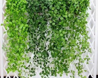 2 Bundle Artificial Ivy Leaf Garland Hanging Plants Vine Fake Foliage Flowers For Wedding Reception Decoration 47 inches