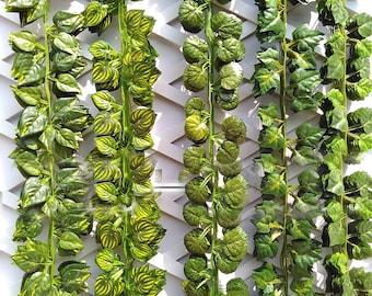 "Artificial Ivy Garland Fake Hanging Plants Vine Fake Foliage Green Ivy Leaf Garland 24 Strands 82"" For DIY Door Wreath Outdoor Wedding Decor"