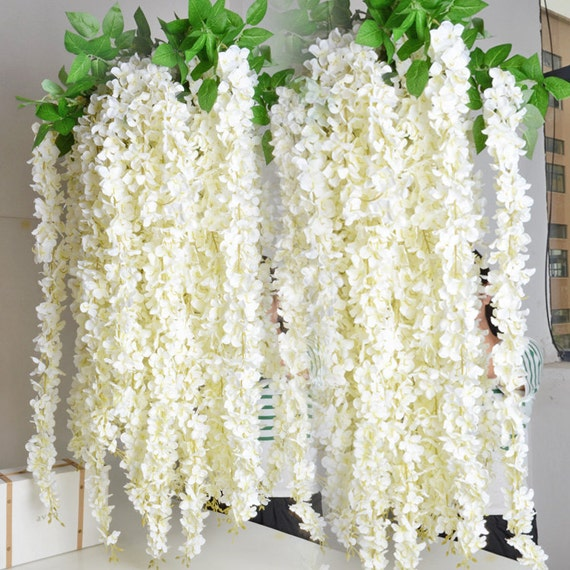 White wisteria garland 70 hanging flowers 5pcs for for Artificial flower for wedding decoration