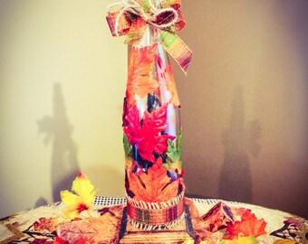 Wine Bottle light! Fall Themed!