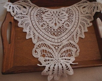 cream lace collar applique, cotton lace collar, crochet cotton lace collar
