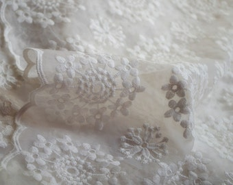 organza lace fabric with dandelion florals