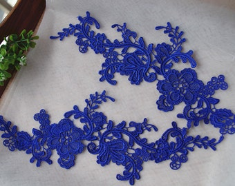 blue lace applique by pairs, venice lace applique