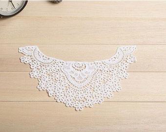 ivory lace collar applique, cotton lace collar, lace neckline