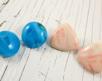 Lot of Two Blue and Pink Vintage Plastic Clip Earrings (retro 70s 80s marbled round triangle bright colorful pastel lucite)