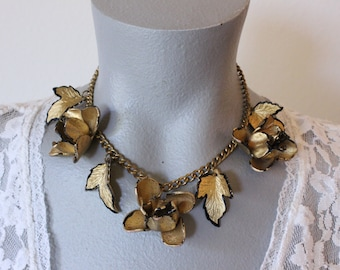 Vintage Plastic Gold and Black Flower and Leaf Pendant Necklace (retro 50s 60s choker charm fall autumn 3d chunky big statement pretty)