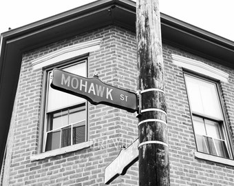 Columbus Ohio Photography, German Village Photo Black and White Mohawk Street Sign  Urban Hipster Art Modern Hip Print Restaurant Hotel City