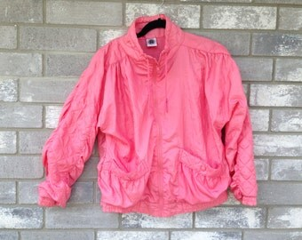 80s 90s bubblegum pink sporty windbreaker jacket