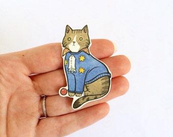 Scared Cat Brooch Danny T. Cat Pin  - Halloween Pin - cat jewellery-Unique Boutonnière