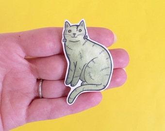 Halloween Cat Brooch  Frankenstein Cat - Halloween pin - cat pin frankenstein pin -Unique Boutonnière