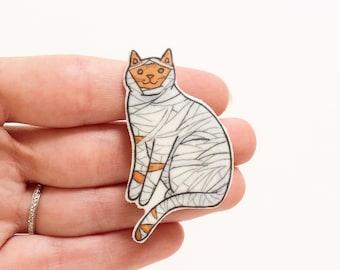 Halloween Cat Brooch  Mummy Cat - Unique Boutonnière