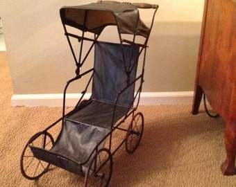 1900s  Doll Carriage / Stroller--Metal and Black Leatherette with Rubber Tires