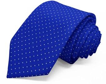 Royal Blue Silk with White Pin Dot Necktie