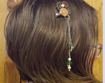 Steampunk clock hair clip