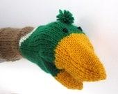 Male Mallard Duck Hand Puppet Kids Birthday Gift Sock Puppet Knit Duck