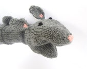 Hand Puppet Gray Bunny Rabbit Hand Puppet Hand Knit Sock Puppet for Adult or Child Knit Rabbit
