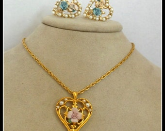 Vintage Flower Necklace and Earring Set