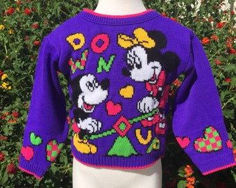 VTG Disney Mickey Minnie Mouse Knit Sweater Sz 2-3T Purple Pink