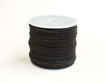 Black Suede Cord, Faux Suede Cord Lacing, 16 feet