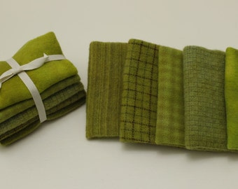 Key Lime Wool Bundles for Rug Hooking and Applique