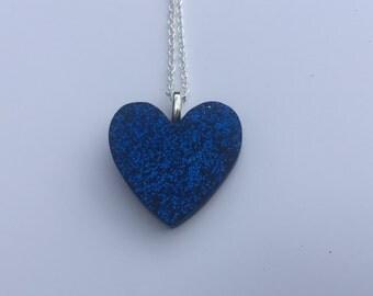Blue Glitter Resin Heart Pendant